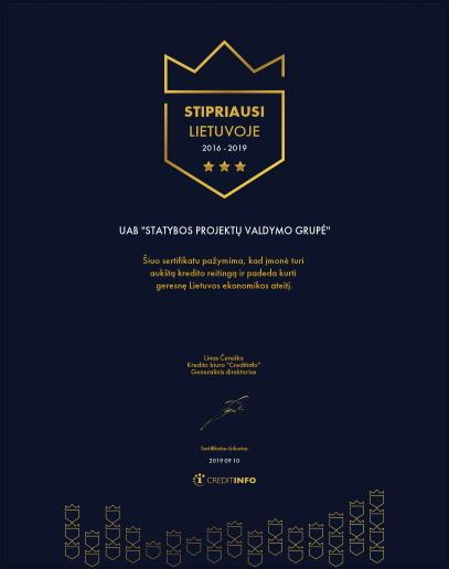 CREDITINFO sertifikatas Stipriausi Lietuvoje 2016-2019