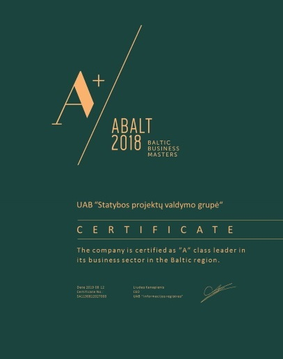 """""""A"""" klasės lyderis savo verslo sektoriuje Baltijos šalių regione"""