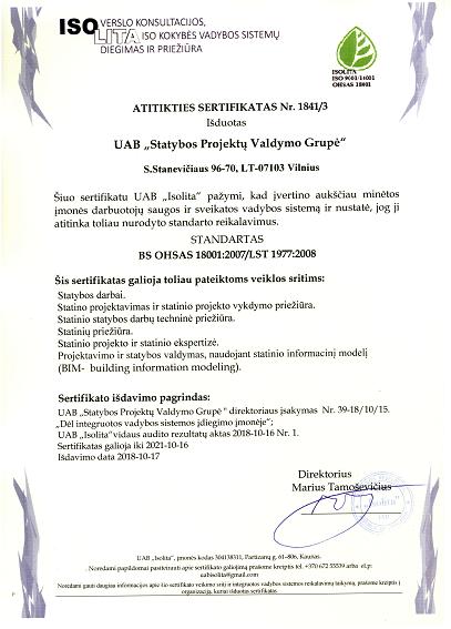 Darbuotojų saugos ir sveikatos vadybos sistema. ISOLITA sertifikatas