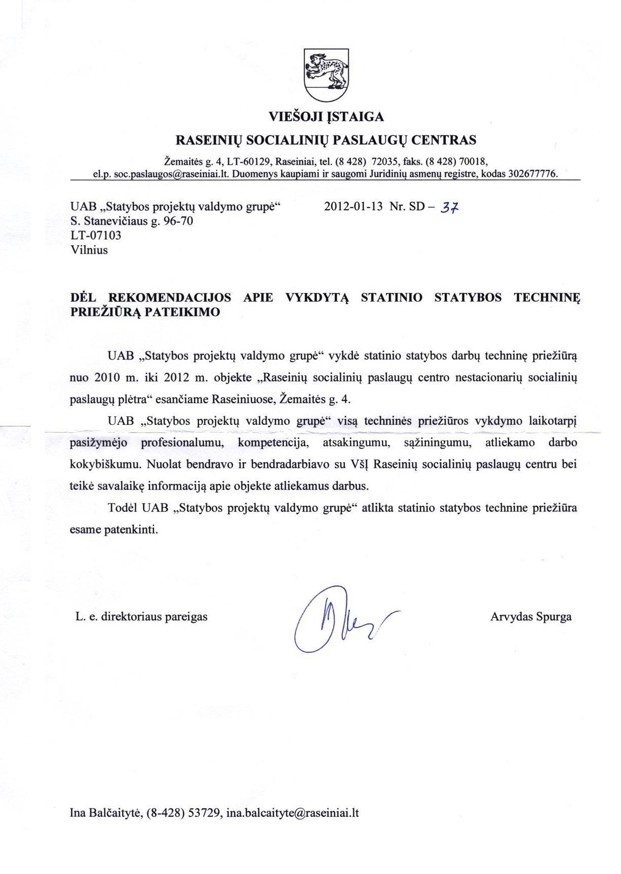Raseinių Socialinių paslaugų centro rekomendacija 2012-01-13