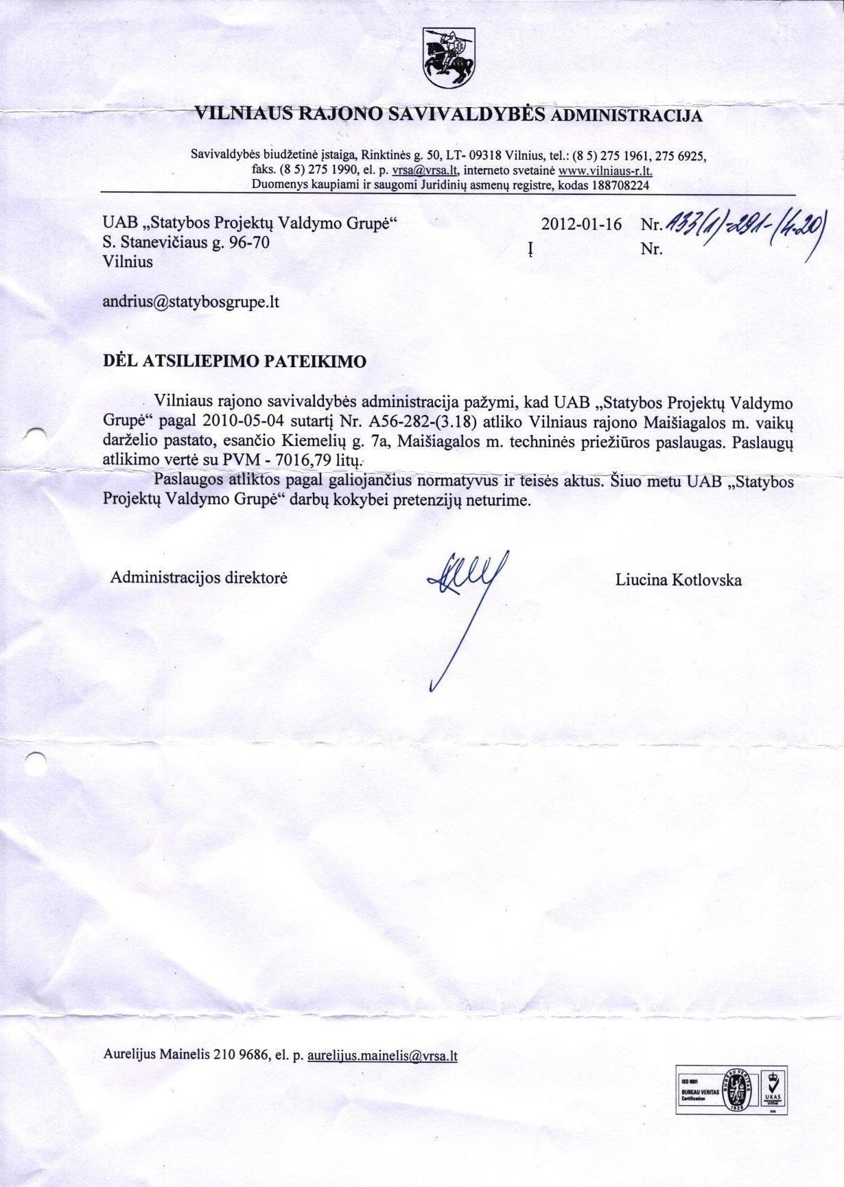 Vilniaus rajono savivaldybės administracijos rekomendacija 2012-01-16