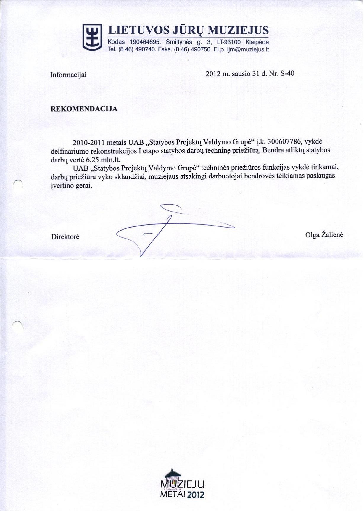 Lietuvos Jūrų muziejaus rekomendacija 2012-01-31