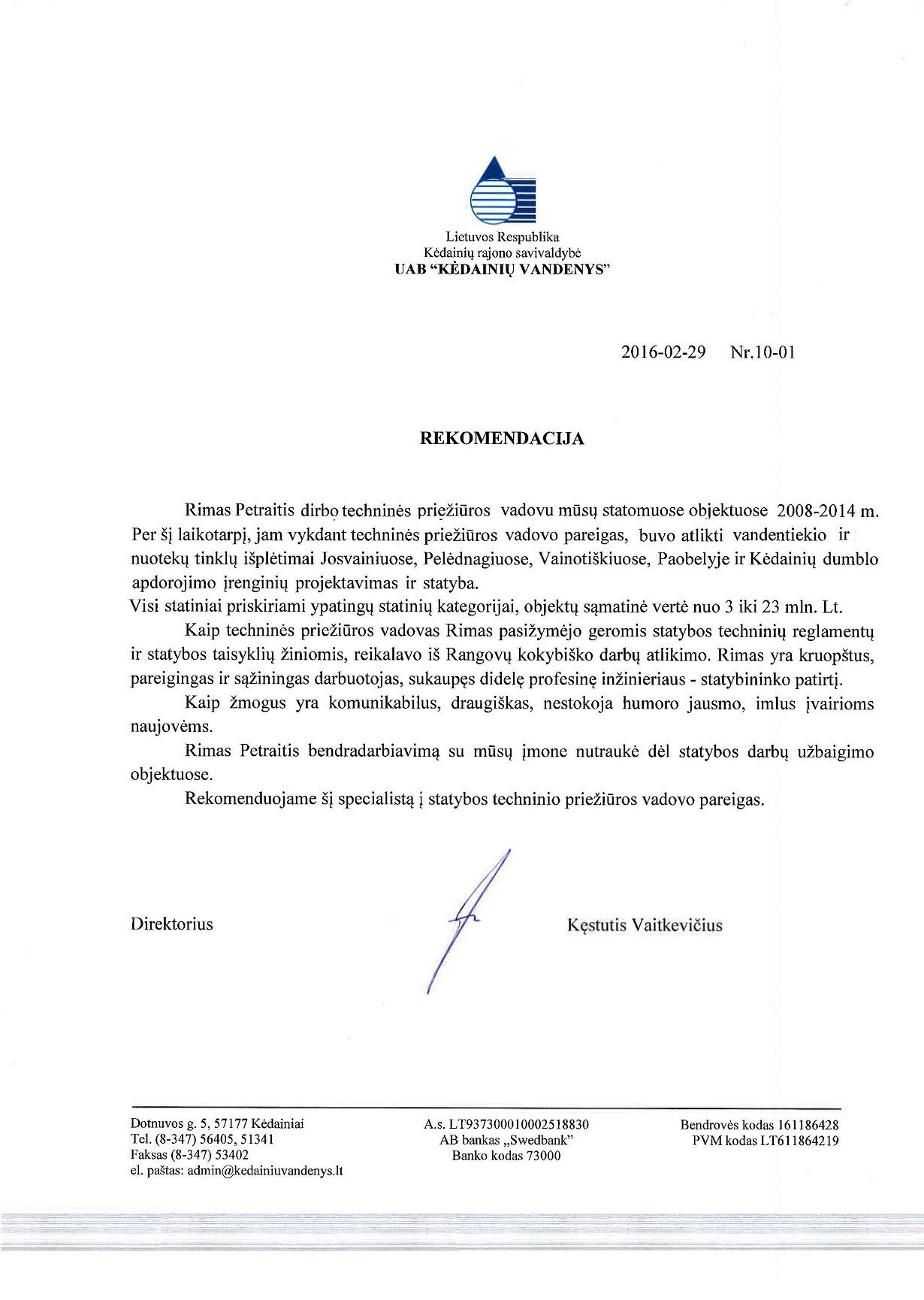 Kėdainių Vandenys UAB Rekomendacija 2016-01-30