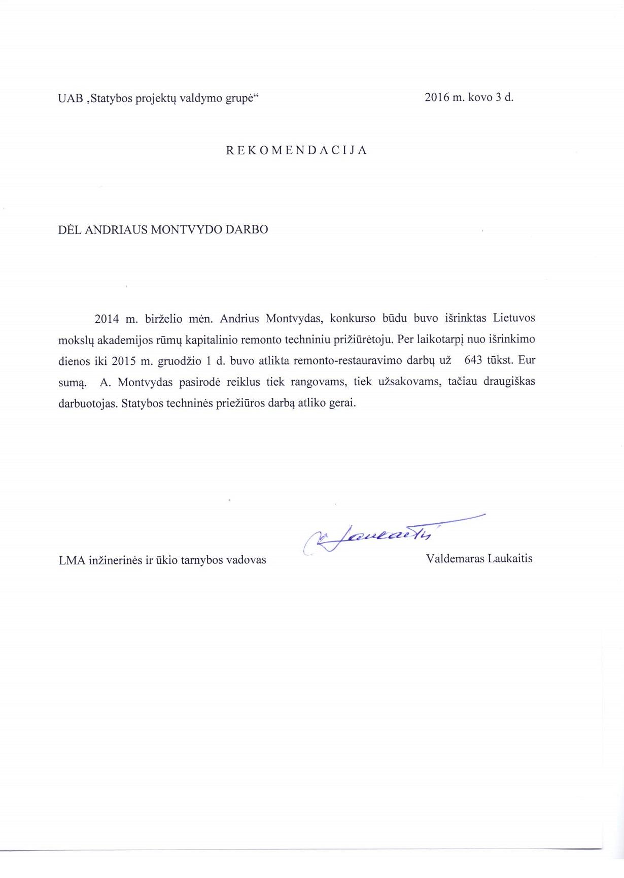 Lietuvos Mokslų Akademija. Rekomendacija 2016-03-03