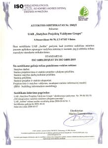 Aplinkos apsaugos vadybos sistema. ISOLITA sertifikatas