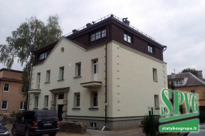 Vilnius, daugiabutis, gyvenamasis, namas, renovacija, statybos, darbai, techninė, priežiūra, fasadas, šiltinimas, stogas, dengimas, mansarda, antstatas, SPVG