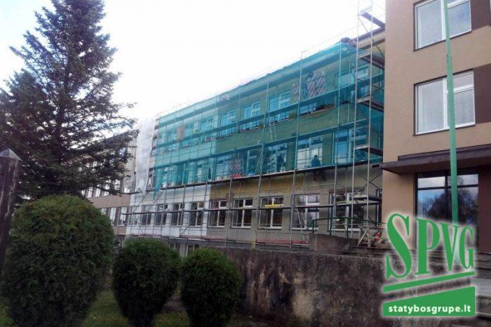 Obelių gimnazijos pastato rekonstrukcija, techninė, priežiūra, cokolis, fasadas, šiltinimas, langai, stogas, lietvamzdžiai, bituminė danga, keitimas, SPVG